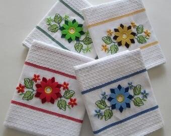 "Pack Waffle Kitchen Tea Towels / Dish Cloths - 100% Cotton - 50cm x 70cm (19"" x 27"") - Ref. SUNFLOWER"
