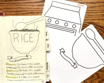 Recipe Journal Tracing Card - Bowl and Stove