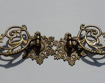 A Pair of Antique Solid Brass Victorian Wall / Piano Candle Holders / Sconces