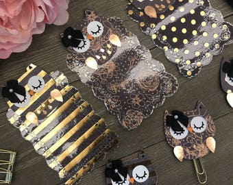 MIDNIGHT GOLD Owl TN Planner Page Marker or Planner Clip