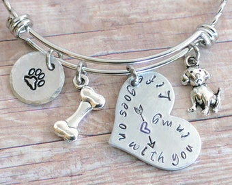 Pet Remembrance, Pet Bracelet, Handstamped,  Dog Memorial, Treasured Pet, Bangle, Custom Pet Jewelry, Personalized Jewelry, Dog Mom