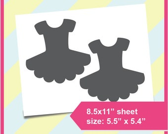 "Instant Download, Tutu Template, cake topper, Ballerina Party PSD, PNG and SVG Formats,  8.5x11"" sheet,  Printable 153"