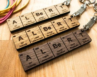 Cool keychains etsy periodic table name keychain gifts for him gifts for her wood gifts urtaz Gallery