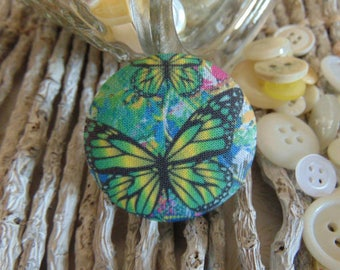 x 1 cabochon 28mm bouquet flowers 2 BOUT10 fabric
