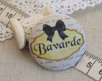 x 1 28mm fabric button chats ref A13