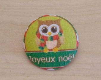 1 button x 19mm ref A35 Christmas OWL fabric