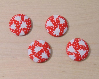 x 4 cabochons 20mm red flowers ref B-9 fabric