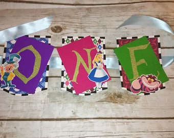 Alice in Wonderland Number/Age Birthday Banner