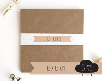 Envelope square / kraft brown / 13 x 13 cm / 5 pieces