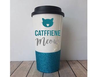 Catffiene Meow Travel Mug, Cat Coffee Mug, Cat Travel Mug, Cat Gift, Cat Mom, Cat Lover, Crazy Cat Lady, Cute Cat Gift, Cat Themed