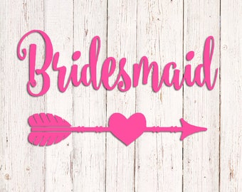 Bridesmaid Decal, Bridesmaid Vinyl Decal, Bride Tribe Decal, Bridal Party Decal, Bridesmaid Yeti Decal, Bridesmaid Monogram