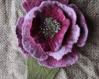Felted peony flower pin hand felted brooch pink