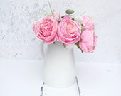 Image of Pink Artificial Peony Bouquet in Cream Jug Peony Bouquet Home Decor Artificial Flowers Silk Bouquet Pink Peony Country bouquet