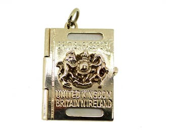 Vintage British Passport Charm / Passport Charm / Gold Passport Pendant / British Passport Charm /British Passport Pendant /Opening Passport