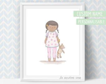 Custom Nursery art, baby girl nursery decor, afro girl room prints, baby gift, custom name, baby nursery wall art, black baby girl