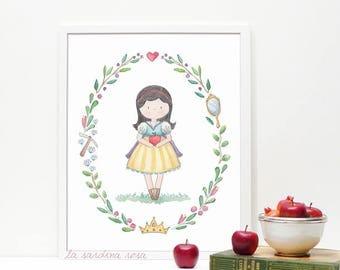 Snow White art, Princess nursery print, Snow White print, Baby girl room decor, Fairy princess room