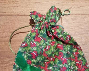 Handmade holly favour bags