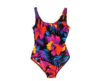 Vintage tropical floral high cut one piece swimsuit