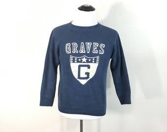 60's vintage flock print sweatshirt navy blue