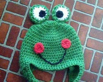 Crochet Baby Frog Hat. Frog Hat for Baby, Tobbler, Kid, Boy, Girl. Frog, Froggy Hat.