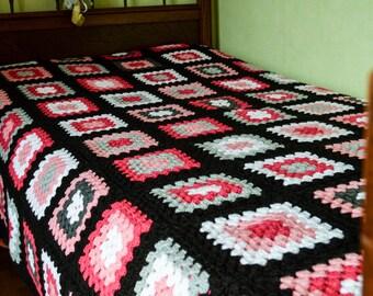 couvre lits en laine et crochet etsy fr. Black Bedroom Furniture Sets. Home Design Ideas