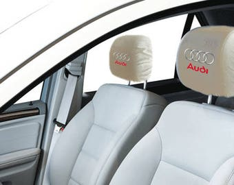 Audi Car/SUV White Headrest Covers
