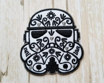 "2.75""x 3"" Disneyland Disney Rare Star Wars Storm Trooper Fabric Iron On Patch Applique DIY No Sew, Inspired Matching Shirts"