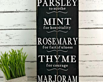 Herb Sign - Herb Meanings - Kitchen Sign - Farmhouse Decor - Farmhouse Kitchen - Parsley - Sage - Rosemary - Thyme - Housewarming Gift