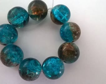 Set of 10 beads Crackle Glass turquoise and Brown
