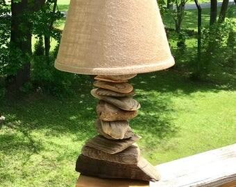 Driftwood Lamp,Driftwood table lamp,handmade driftwood lamp,stacked driftwood lamp,Maine driftwood lamp,driftwood home decor,driftwood art