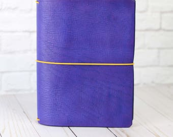Leather Travelers Notebook - Purple Leather - Leather Quill Shoppe - Journal Cover - Traveler Journal - Bullet Journal Cover - Field Notes