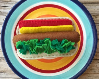 play food felt hot dog, play kitchen food, felt food hot dog, pretend food hot dog, dramatic play food hot dog, felt hot dog