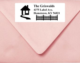Custom Address Label Silhouette House with picket fence  LW1007