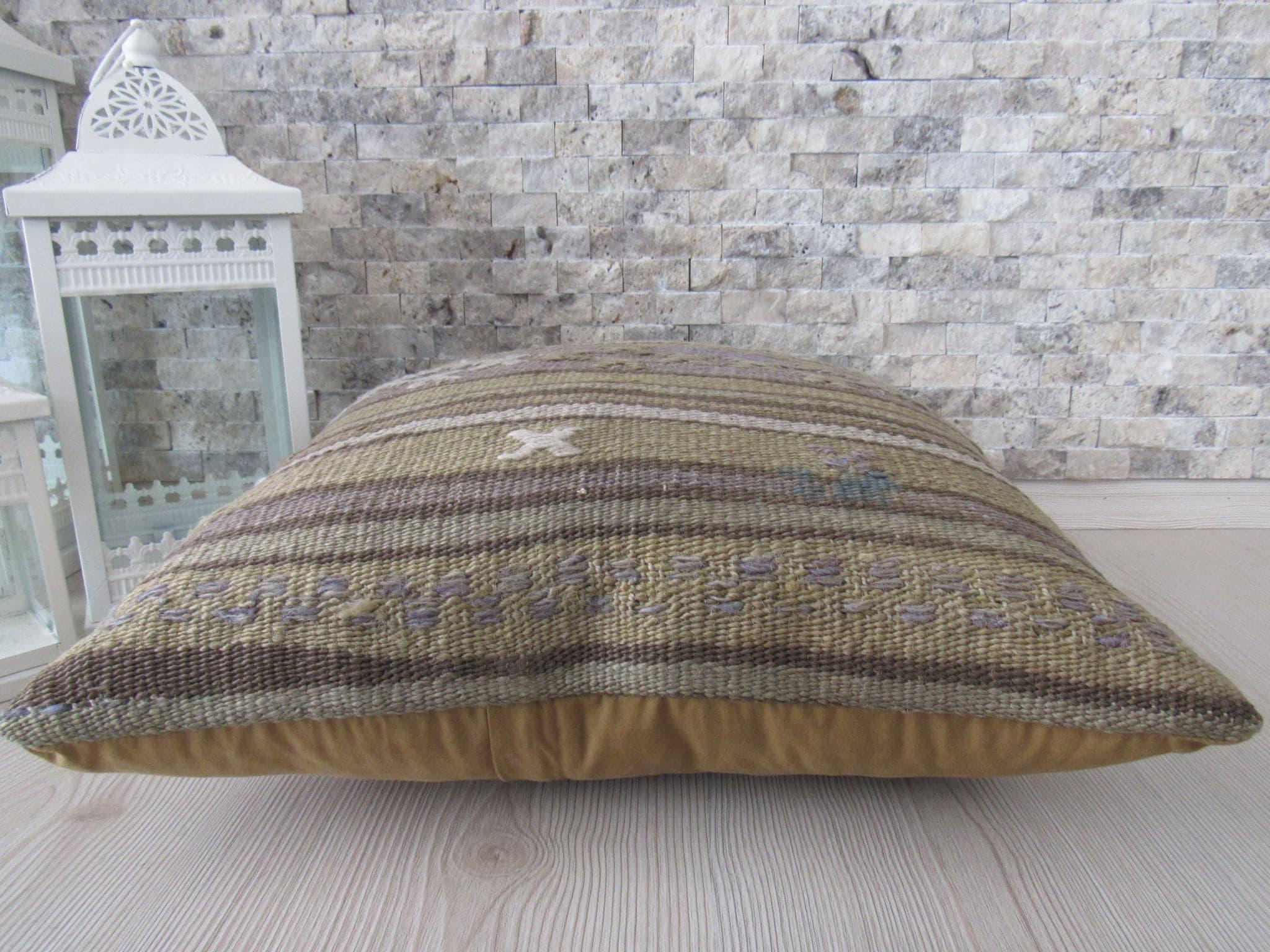 Vintage Kilim Pillow Cover 18x18 Decorative Boho Pillow Sofa Pillow Aztec  Pillow Rustic Pillow Asian Pillow