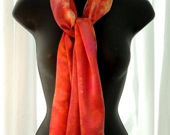 Ice Dyed Orange Silk Scarf