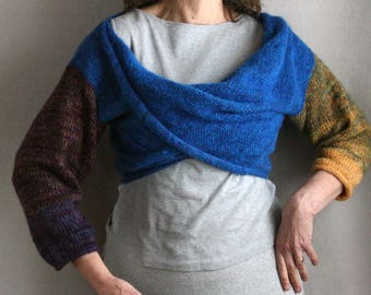 Catalonian Sea blue X-Tee sexy off the shoulder weekend sweater pullover machine knit jumper mobius twist draped collar mohair sweater