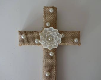 Burlap seashell cross, cross with shells, religious gift, baptism, beach cross