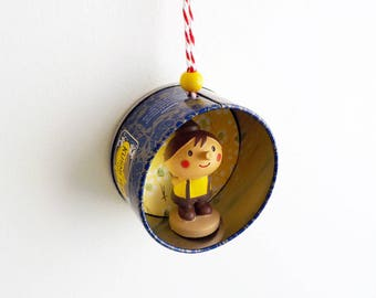 "Christmas ornament ""Little Pinocchio"" - Christmas tree Decoration - Upcycling Tea Caddy"
