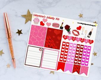 Valentine's Day Weekly Kit Planner Stickers, Valentines Stickers, Weekly Kit Stickers, Love Stickers, Vinyl Stickers