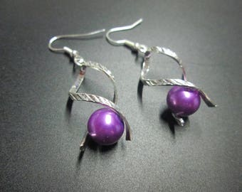 Silver metal and purple satin bead earring