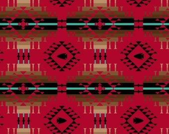 "Fleece Fabric Native American Moondance Red 60"" Wide AA 44218-2"