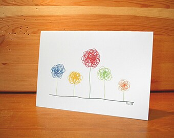 Flowers card A6 (single or set), gift, handmade, children, birthday party, spring, summer, sun, funny, zentangle, mandala, stationery,
