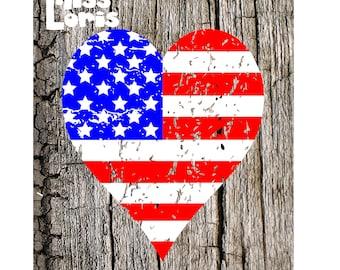 Heart Flag distressed  4th of July Patriotic  SVG DFX Cut file  Cricut explore filescrapbook vinyl decal wood sign t shirt cricut cameo