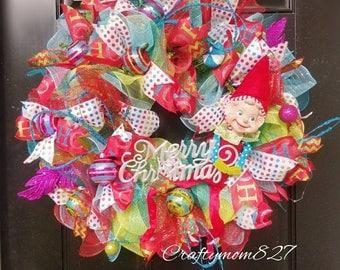 CHRISTMAS WREATH, Retro elf wreath,  Ready to ship, XL Wreath, whimsical Elf wreath, Elf wreath