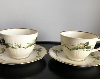 Set of 2 Syracuse China Westvale Cup and Saucer Sets