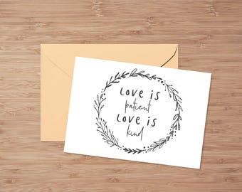 Love Is Patient Love Is Kind, PRINTABLE Cards, Love Cards, Long Distance Relationship, Bible Verse, Christian Cards, Typography Cards, Love