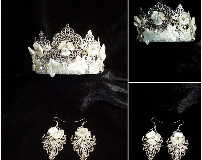 Silver Wedding Crown Earrings Pearl Flowers Delicate Jewelry Bridal Set Floral Pearl Headpiece rhinestone White metal Filigree bridal hair