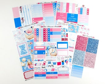Summertime Collection, Weekly, Kit, Erin Condren, SewMuchCrafting, Plum Planner, Planner Stickers, Plan with Me, ChicBlossomPrints