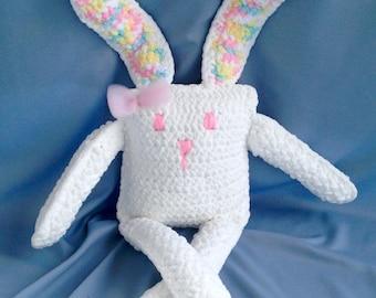 Pillow Bunny/ Crochet Plush Stuffed Bunny/Made To Order Plushie