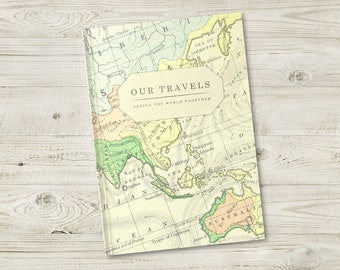 Map journal etsy vintage map journal personalised travel bucket list world travel journal traveller notebook gumiabroncs Choice Image
